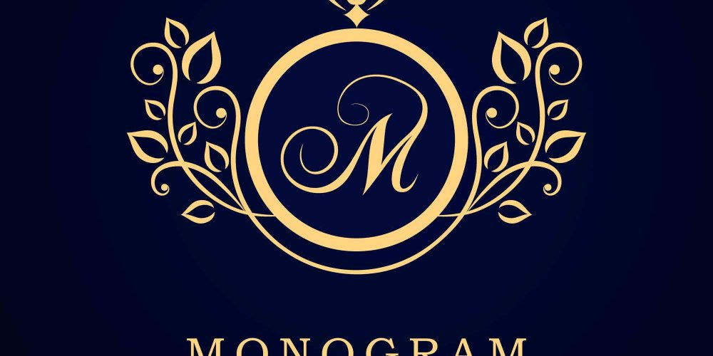 schwarzes bild mit goldenen Monogram