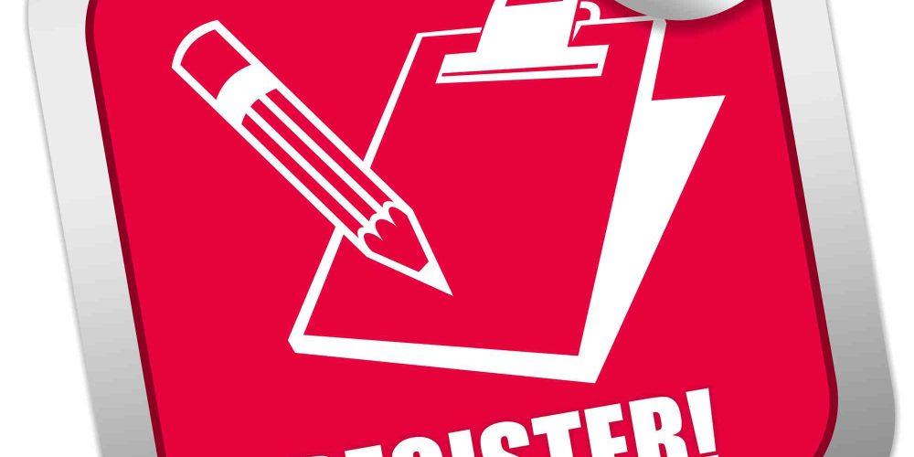 Roter Sticker mit Ordner und Stift